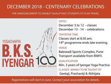 Joogaintensiivi ja Iyengarin satavuotisjuhlat  3.-14.12.18 Punessa